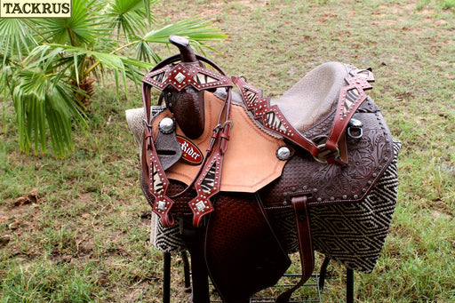 "13"" Horse Western Barrel Show Pleasure LEATHER SADDLE Bridle Pony 50272"