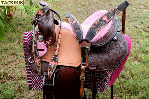 "13"" Horse Western Barrel Show Pleasure LEATHER SADDLE Bridle Pony 50273"