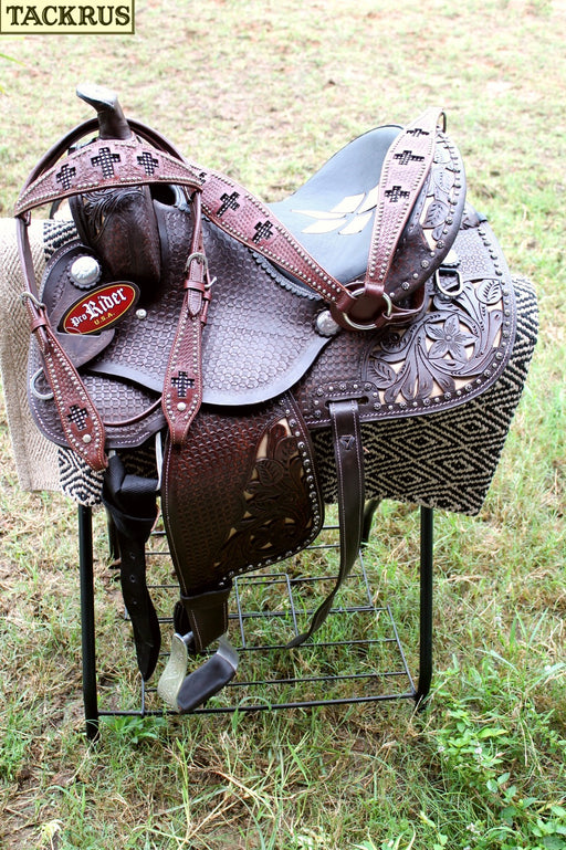 "13"" Horse Western Barrel Show Pleasure LEATHER SADDLE Bridle Pony 50275"