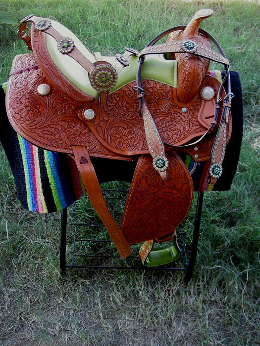 Horse Western Barrel Show Pleasure LEATHER SADDLE Bridle  5052