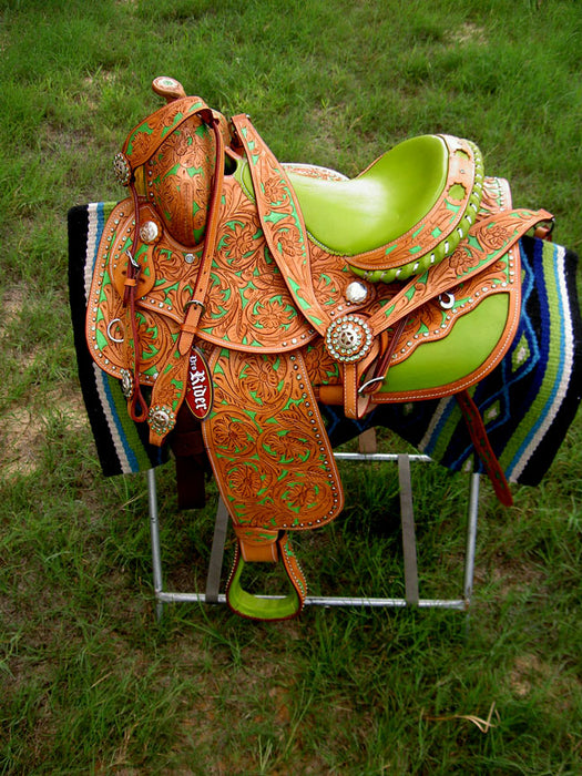 Horse Western Barrel Show Pleasure LEATHER SADDLE Bridle  5056