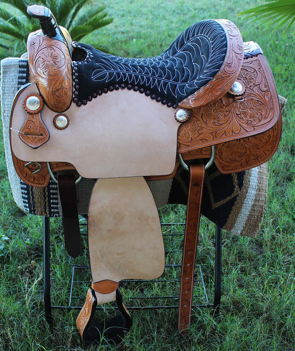 Horse Western Barrel Show Pleasure LEATHER SADDLE Bridle  50DCC3