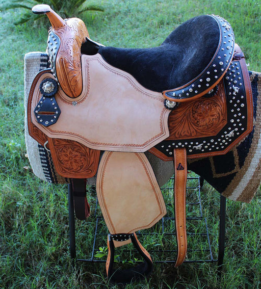 "16"" Horse Western Barrel Show Pleasure LEATHER SADDLE Bridle  50S00451"