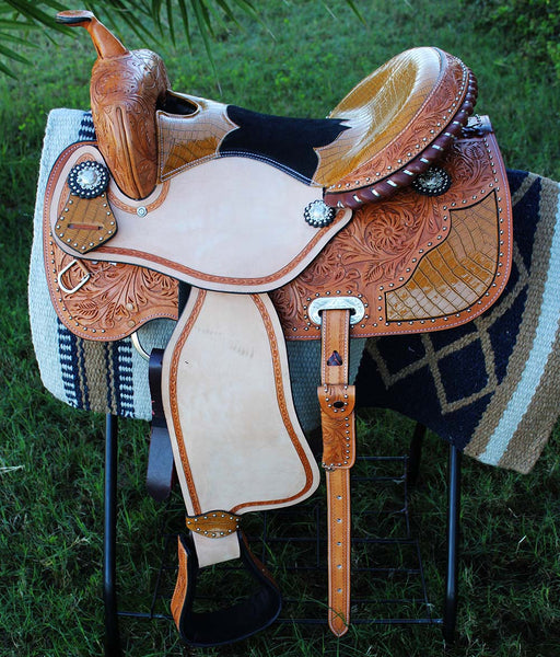 "16"" Horse Western Barrel Show Pleasure LEATHER SADDLE Bridle  50S00452"