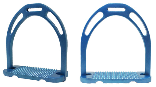 "Horse Saddle 4-3/4"" Wide English Lightweight Aluminum Iron Stirrups Blue 51114SB"