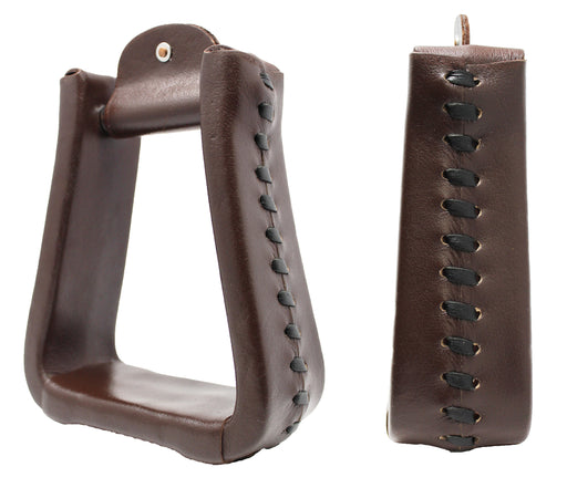 Horse Saddle Western Tack Trail Brown Leather Covered Bell Riding Stirrups 51176BR