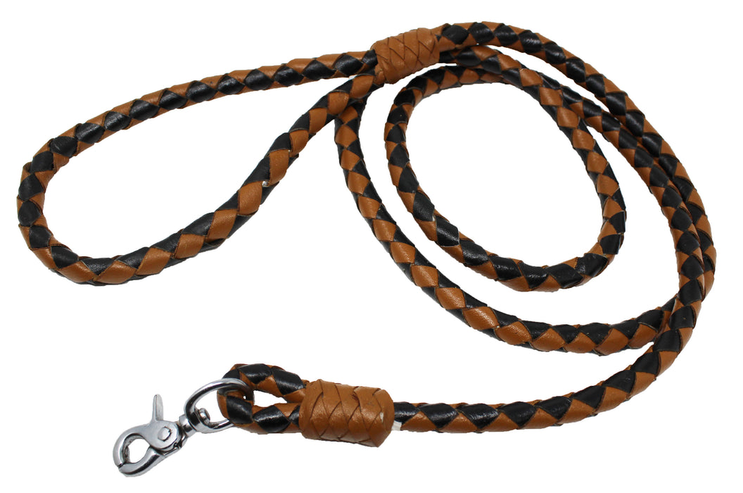 Dog Puppy Collar Leash Genuine Leather  Round Braided Latigo 60006