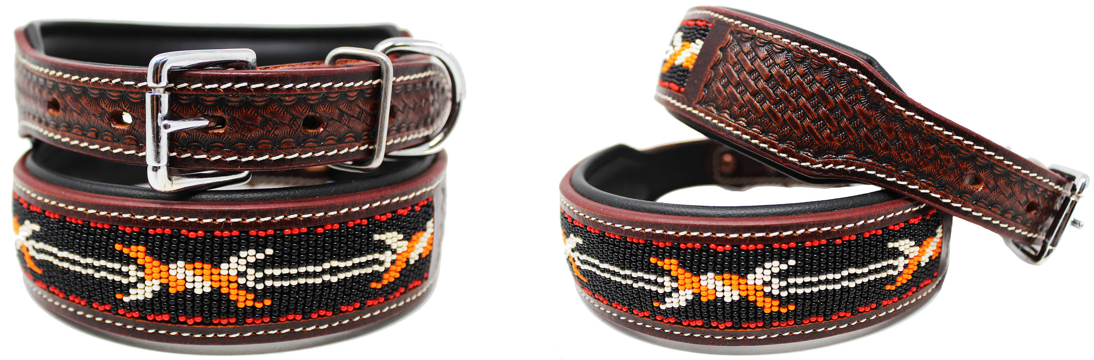 Dog Puppy Collar Genuine Cow Leather Padded Canine  60118