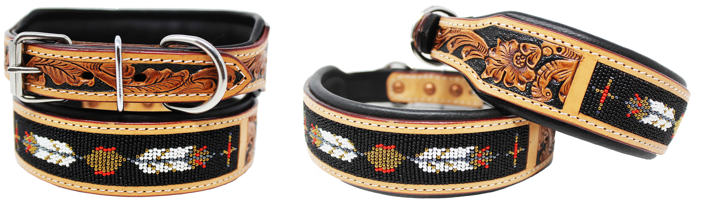 Hand Tooled Beaded Padded Leather Dog Collar  60126