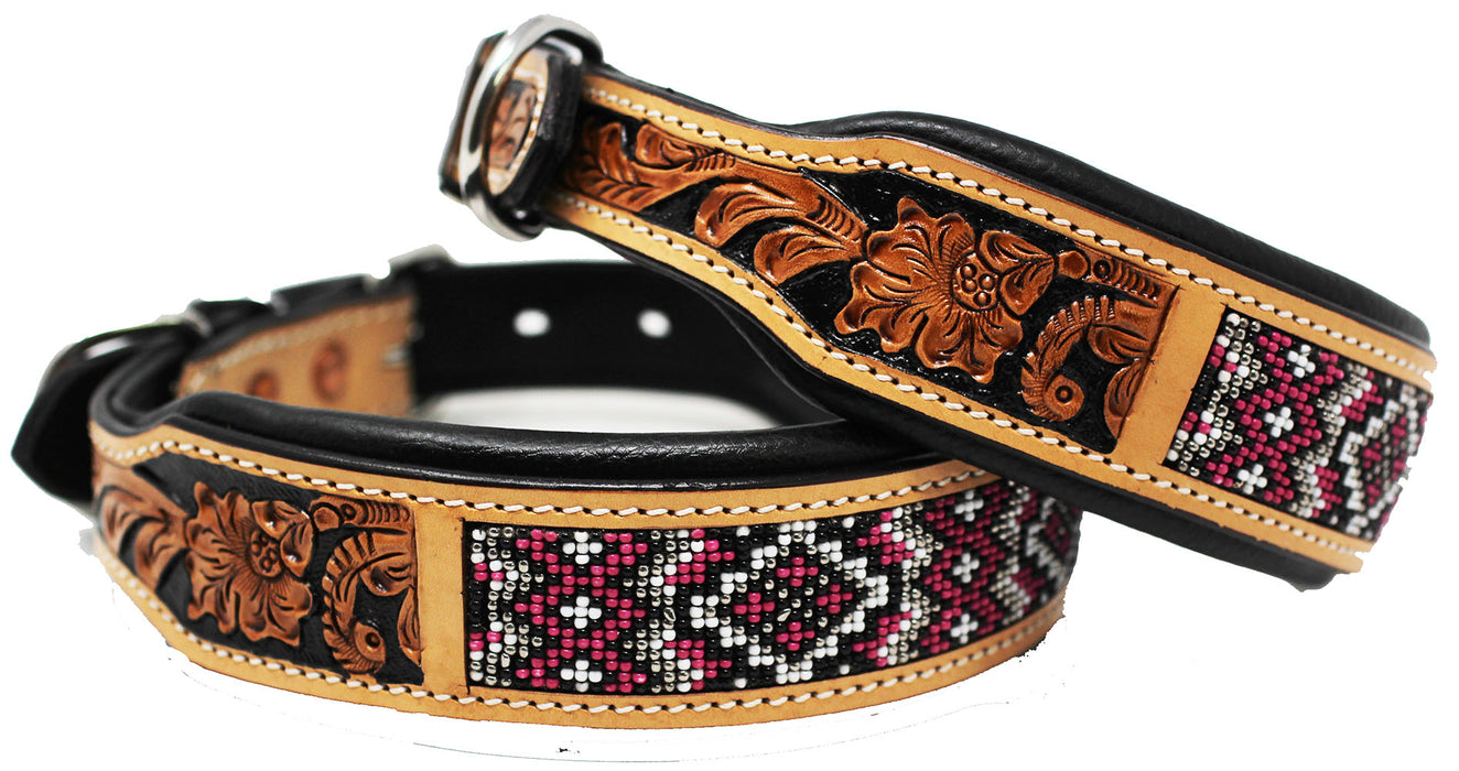 Dog Puppy Collar Genuine Cow Leather Padded Canine  60144