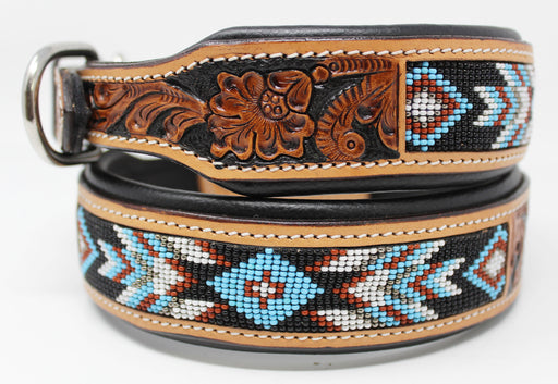 Dog Puppy Collar Genuine Cow Leather Padded Canine  60146