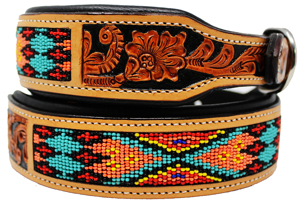 Dog Puppy Collar Genuine Cow Leather Padded Canine  60147