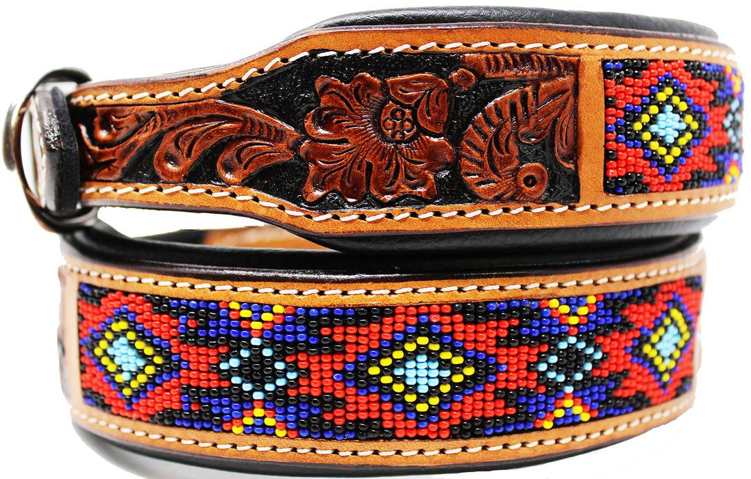 Dog Puppy Collar Genuine Cow Leather Padded Canine  60155