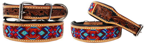 Hand Tooled Beaded Padded Leather Dog Collar  60165