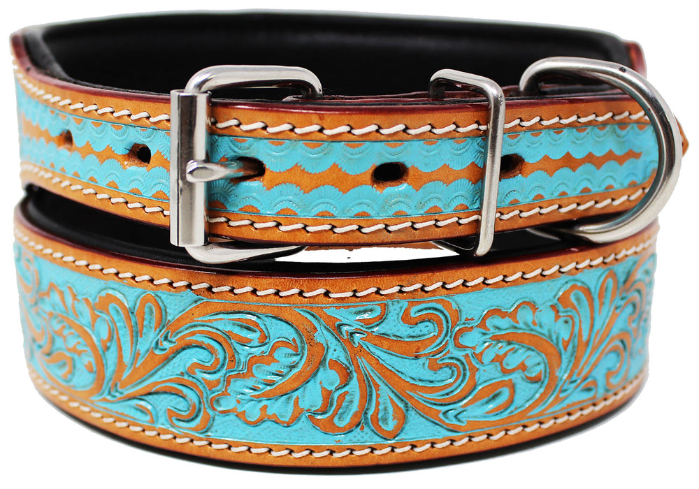 Padded Leather Dog Collar  Floral Hand Tooled 60167