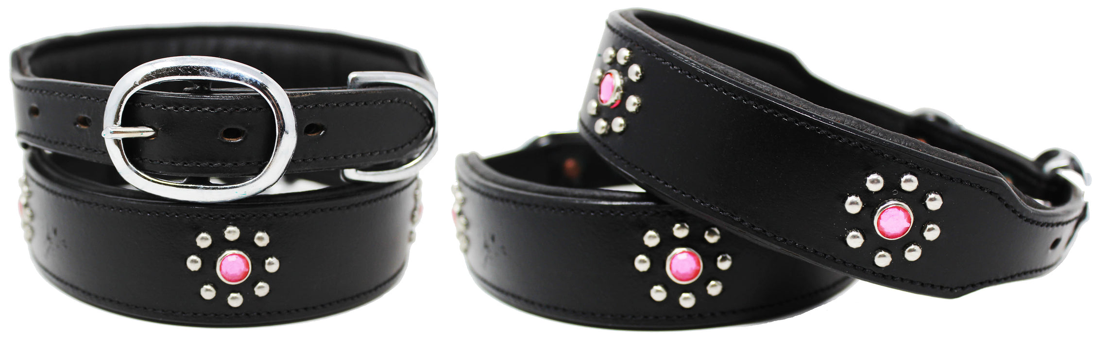 Rhinestone Dog Puppy Collar Crystal Cow Leather Western 6048