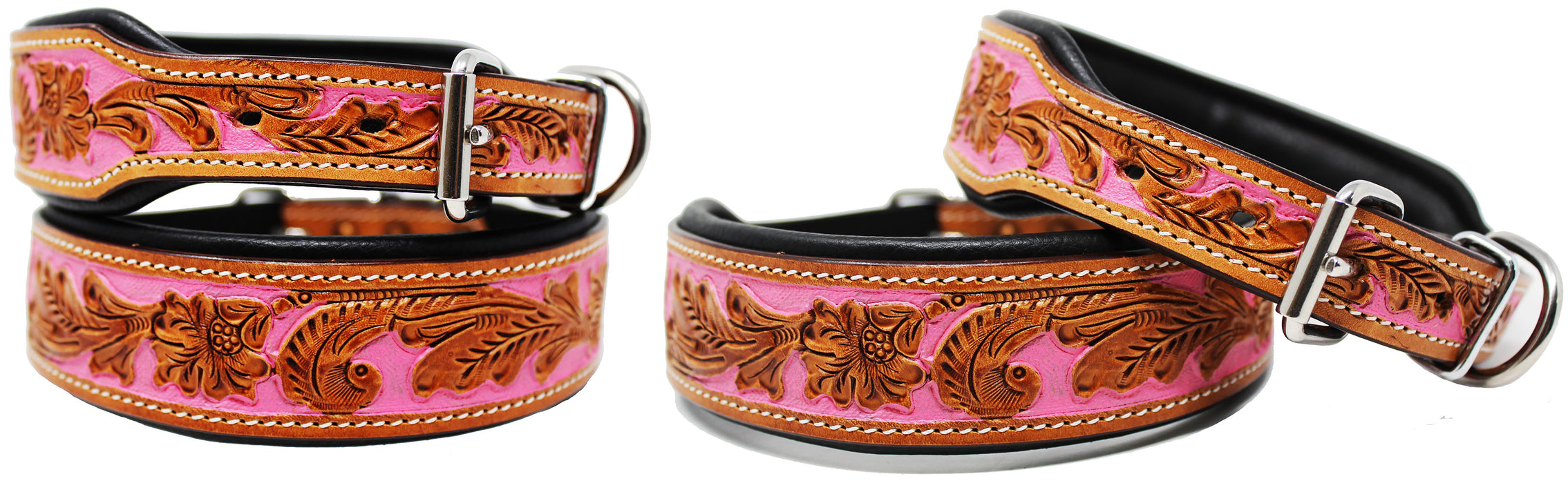 Amish Hand Tooled 100% Cow Leather Canine Puppy Dog Collar Adjustable Soft 6059