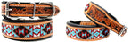 Amish Made 100% Cow Leather Hand Tooled Puppy Dog Collar Adjustable Padded 6064