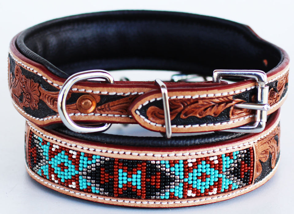 Dog Puppy Collar Cow Leather Adjustable Padded Canine 6064TL
