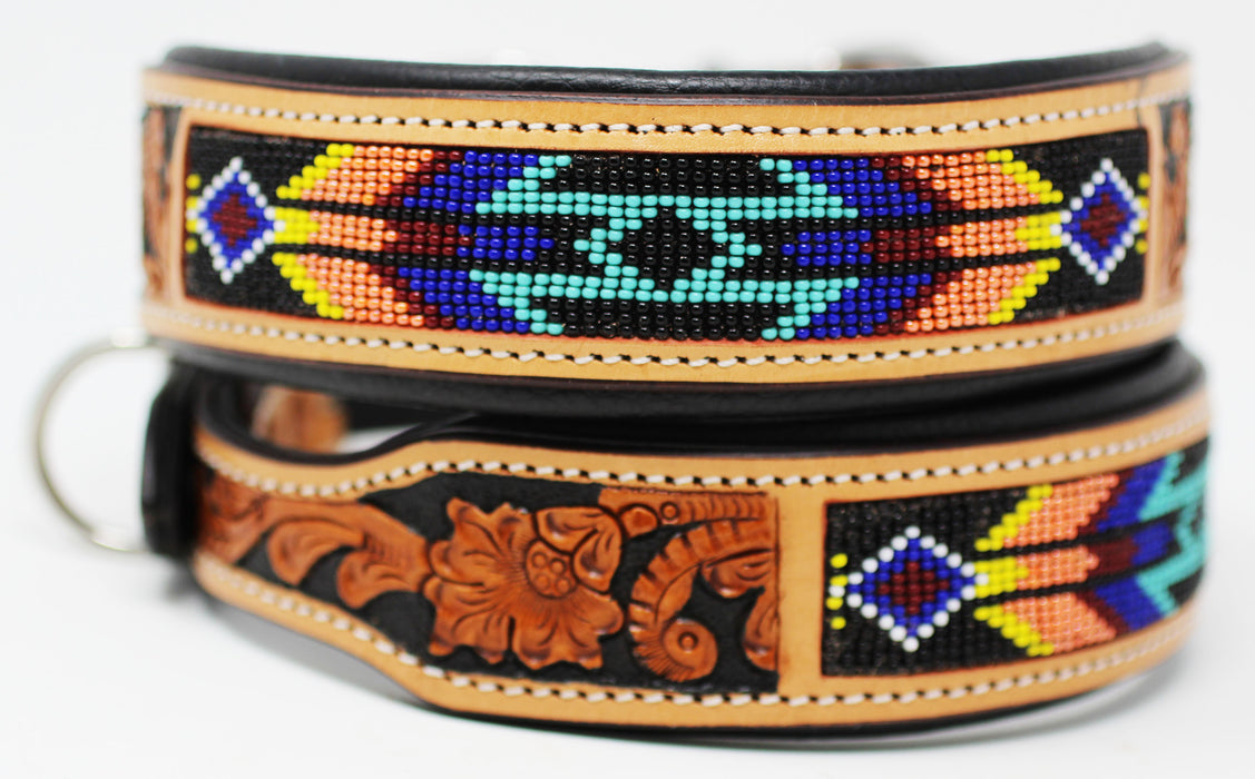 Dog Puppy Collar Genuine Cow Leather Padded Adjustable Padded Canine 6069TL