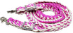 Roping Knotted Horse Tack Western Barrel Reins Nylon Braided Pink 60702