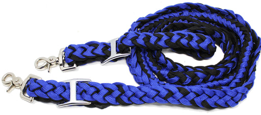 Challenger Horse Nylon Braided Roping Knotted Barrel Reins Royal Blue 60704