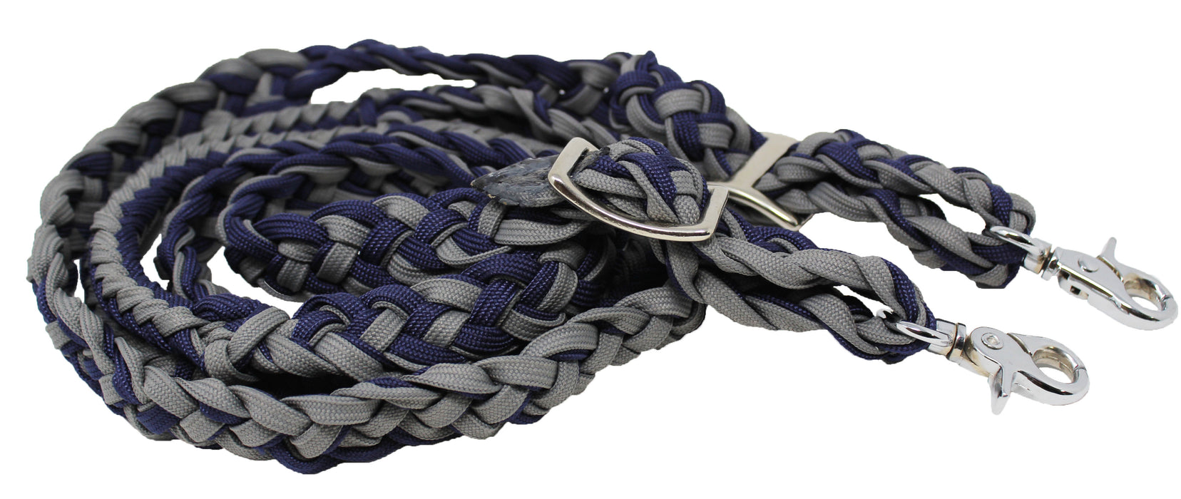 Horse Roping Knotted Horse Tack Western Barrel Reins Nylon Braided Navy 607135