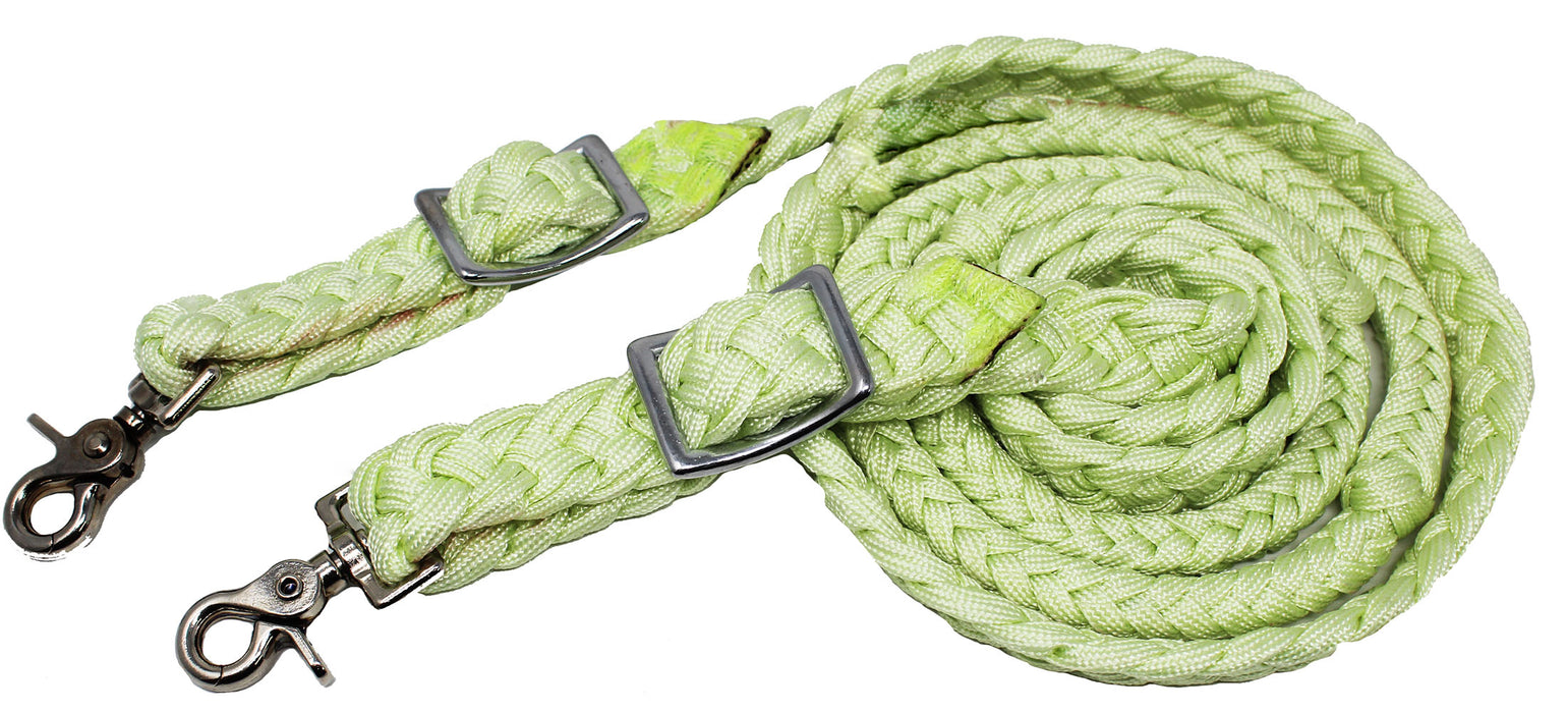 Horse Roping Western Barrel Reins Braided Knotted Nylon Lemon Green 607159