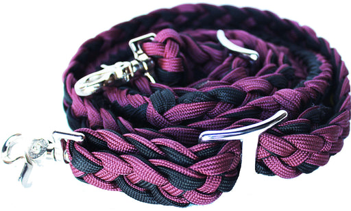 Horse Roping Knotted Tack Western Barrel Reins Nylon Braided Burgundy BLK 607161