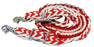 Roping Knotted Horse Western Barrel Reins Nylon Braided Red White 8ft 60791