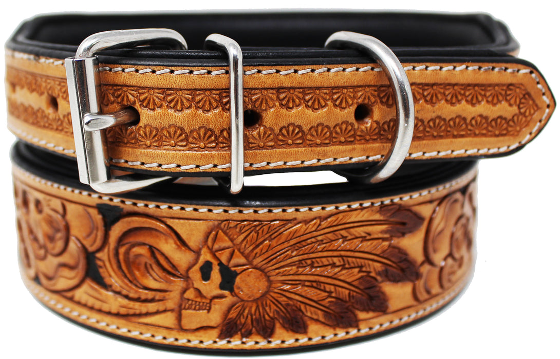 Heavy Duty Padded Leather Floral Tooled Dog Collar 60FKDog