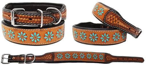 Padded Leather Dog Collar Floral Hand Tooled 60HR01