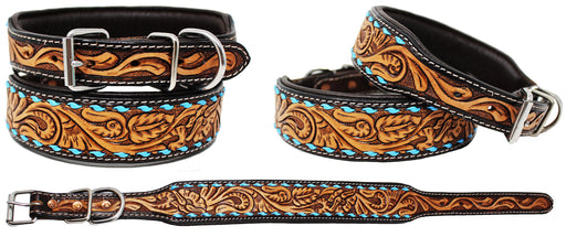 Padded Leather Dog Collar Floral Hand Tooled 60HR05