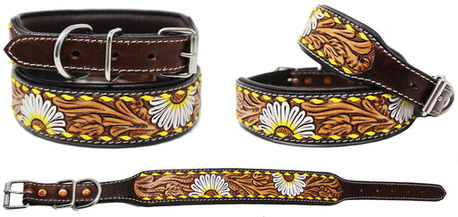 Padded Leather Dog Collar Floral Hand Tooled 60HR06