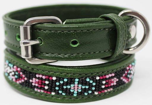 Soft Genuine Leather Beaded Padded Dog Puppy Collar  60RT03