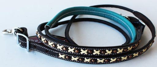 Horse 8ft Contest Western Tack Saddle Barrel Leather Reins 6645