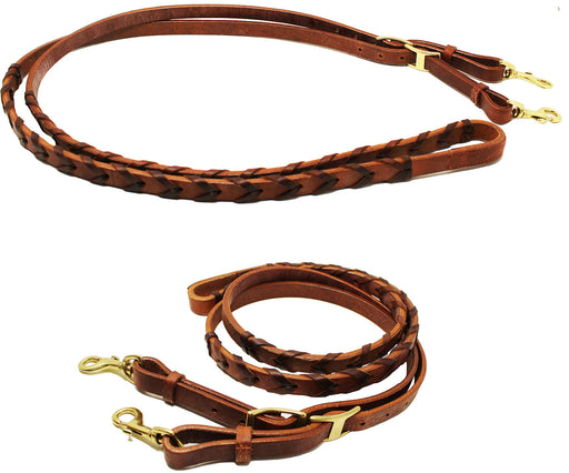 Horse Western Amish Leather Barrel Contest Laced Reins Brown 66RT10BR