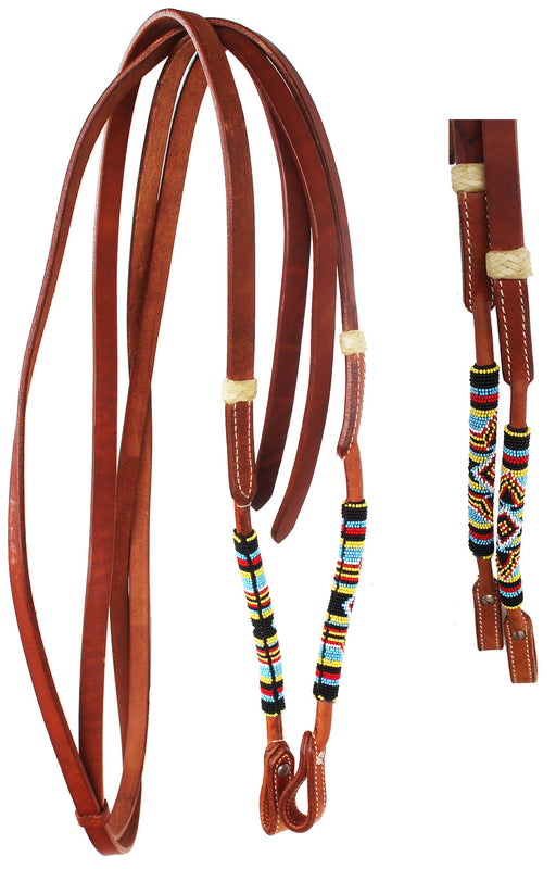 Horse  Western Round Leather Beaded Overlay Split Reins 66Beaded