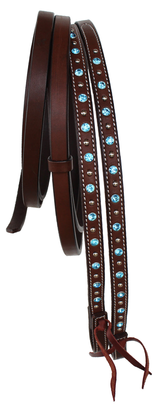 Horse Western 8ft Brown Show Split Leather Reins 66RT22