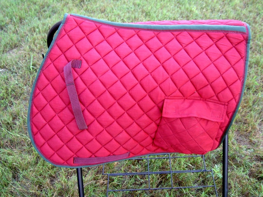 Horse Quilted ENGLISH SADDLE PAD Tack Trail Riding Burgundy 7207