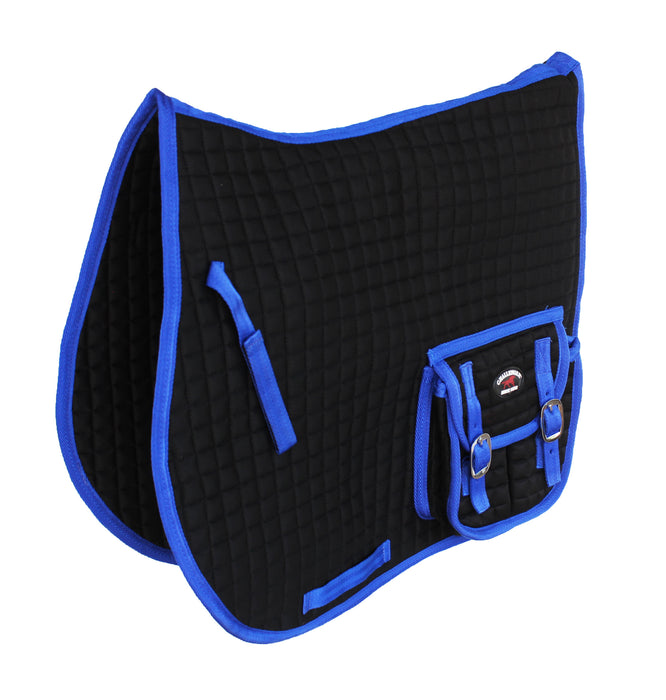 Challenger English Horse Quilted All-Purpose Saddle Pad w/ Pockets Blue 72101