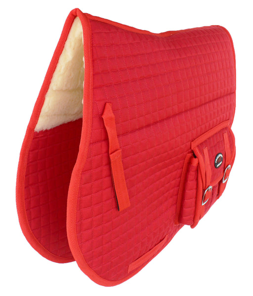 Horse Quilted ENGLISH SADDLE PAD Trail Australian Dressage Pockets Faux Fur RED 72115