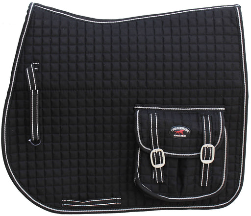 Horse Quilted English All-Purpose Trail Saddle Pad Black w/ Pockets 7269