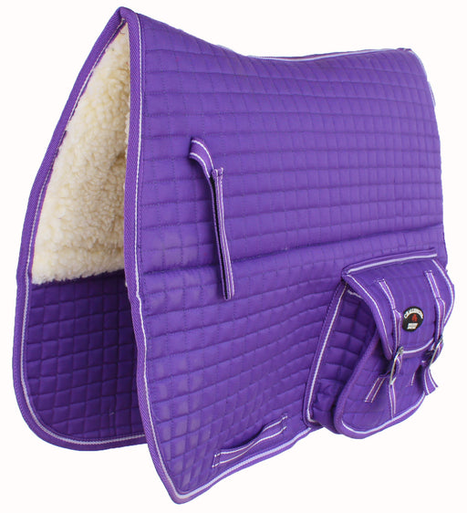 Horse Quilted ENGLISH SADDLE PAD Pockets Dressage Aussie Australian Purple 7276