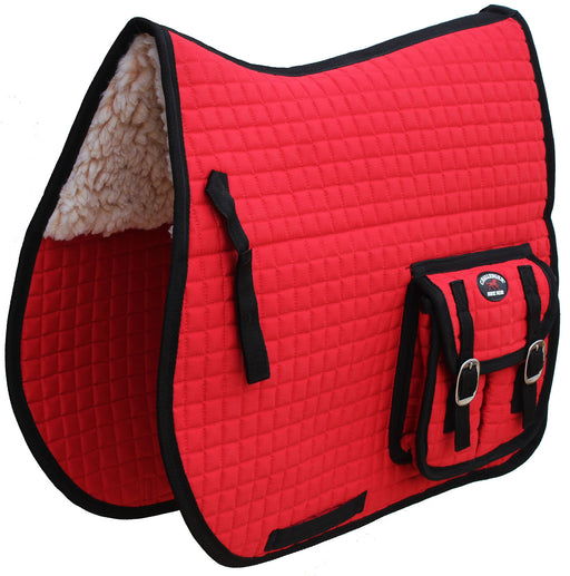 Horse Quilted English All-Purpose SADDLE PAD With Pockets Faux Fur Red 7277