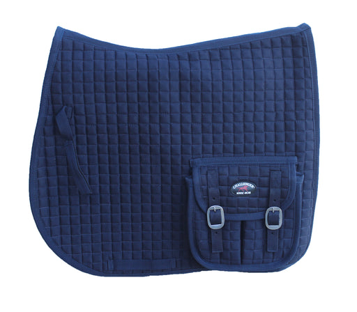 Horse English Quilted All-Purpose Saddle Pad w/ Pockets Navy 7282