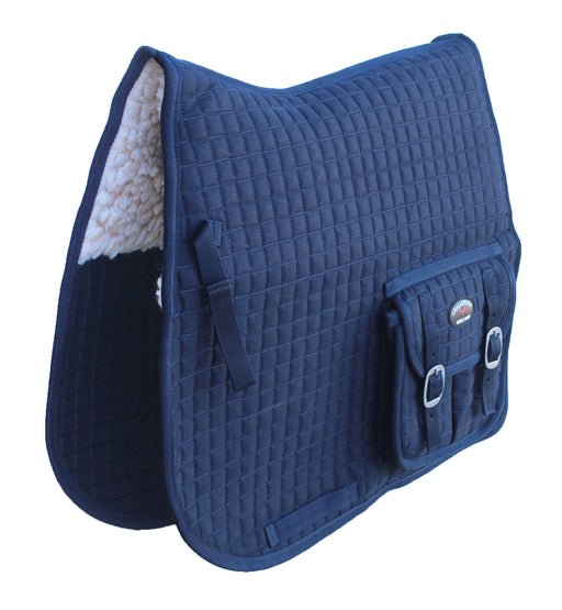 Horse English Quilted All-Purpose Fleece Padded Saddle Pad w/ Pockets Navy 7283