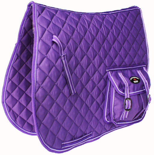 Horse Quilted English All-Purpose Saddle Pad Purple w/ Pockets 7285