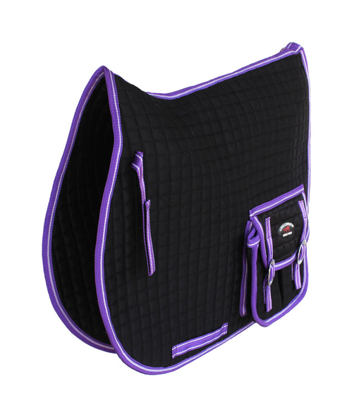 Challenger English Horse Quilted All-Purpose Saddle Pad w/ Pockets Purple 7299