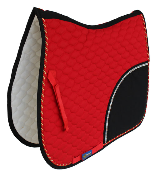 Horse Quilted ENGLISH SADDLE PAD Tack Trail Riding Red Black 72F11